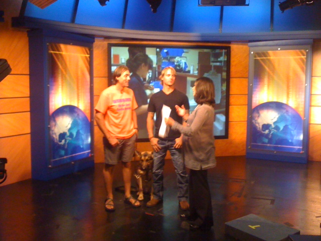 Expedition Impossible teammates Erik Weihenmayer and Jeff Evans being interviewed at the Channel 7 studio.