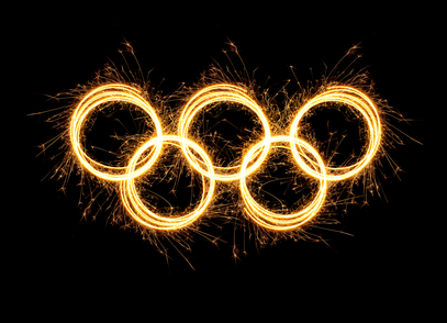 Spinning lights of the 2014 Olympic rings