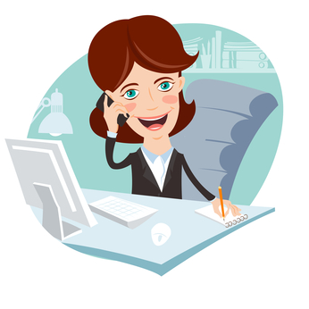 Vector Illustration of Office woman sitting at his working desk